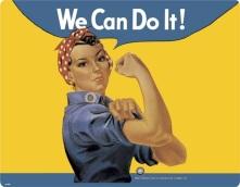 """Women, War and Conscription"" J. Howard Miller, 1943. Taken from http://en.wikipedia.org/wiki/We_Can_Do_It! accessed 28/2/2013"