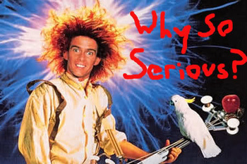 "Yahoo Serious from the Australian film ""Young Einstein"" (1988). Complete with cockatoo."