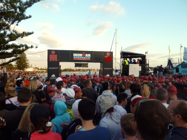 Ironman Triathlon competitors at the start of their long pilgrimage.