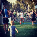 Mr Cool gave up an age group win and stopped and waited for me so we could finish together, with Mr two chasing us up the finish chute.